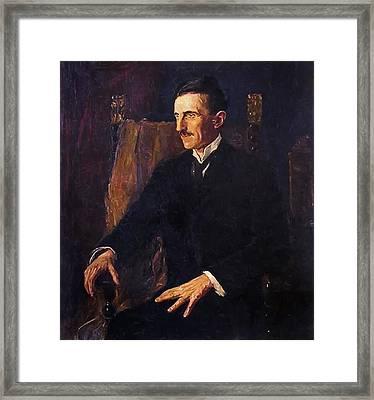 Nikola Tesla - Only Known Life Portrait Framed Print by Daniel Hagerman