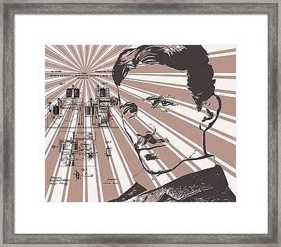 Nikola Tesla Patent Poster Framed Print by Dan Sproul