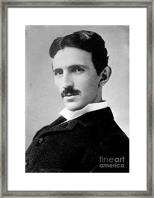 Nikola Tesla, Serbian-american Inventor Framed Print by Science Source