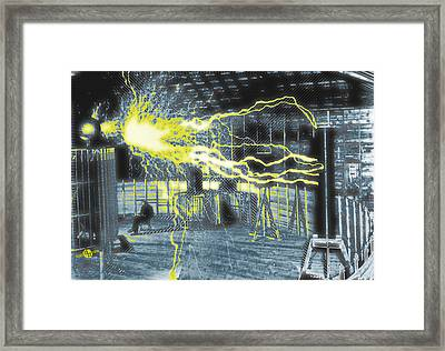 Nikola Tesla Sitting In His Experimental Station Reimagined 2 Framed Print by Tony Rubino