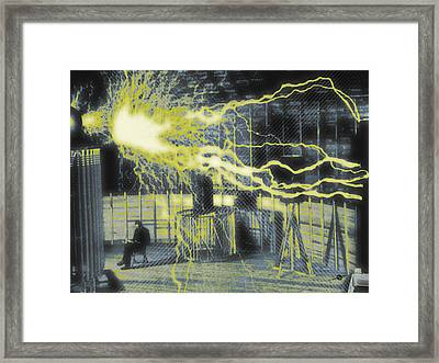 Nikola Tesla Sitting In His Experimental Station Reimagined 3 Framed Print by Tony Rubino