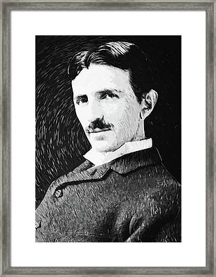 Nikola Tesla Framed Print by Taylan Apukovska