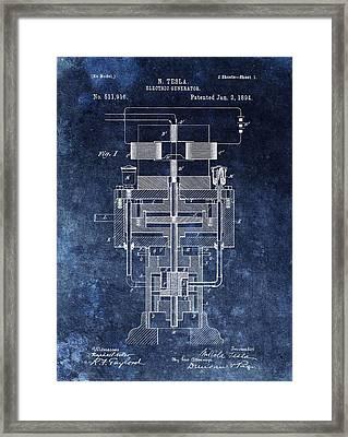Nikola Tesla's Generator Patent Framed Print by Dan Sproul