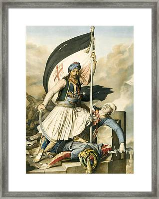 Nikolakis Mitropoulos Raises The Flag With The Cross At Salona On Easter Day 1821 Framed Print