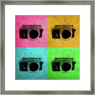Nikon Camera Vintage Pop Art Framed Print