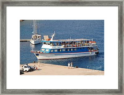 Nikos Express Ferry At Halki Framed Print