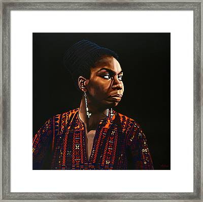 Nina Simone Painting Framed Print by Paul Meijering
