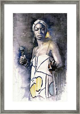 Nina Simone Framed Print by Yuriy  Shevchuk
