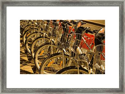 Bikes For Hire In Lyon Framed Print