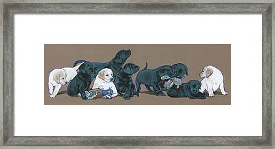 Nine Lab Puppies Framed Print