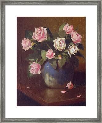 Nine Roses In Blue And White Vase Framed Print by David Olander