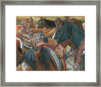 Nine Saddled Framed Print