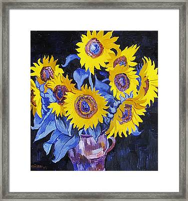 Nine Sunflowers With Black Background Framed Print by Vitali Komarov
