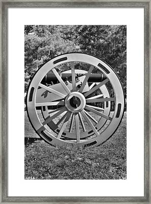 Ninety Six National Historic Site Cannon Wheel Black And White Framed Print
