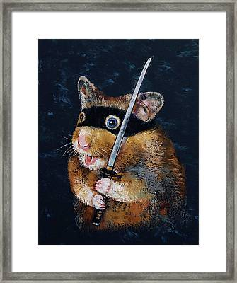 Ninja Hamster Framed Print by Michael Creese