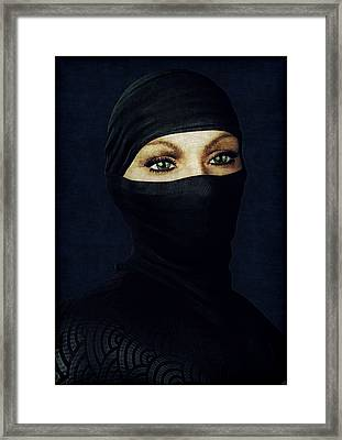 Ninja Portrait Framed Print by Maynard Ellis