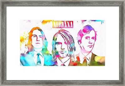Nirvana Watercolor Paint Splatter Framed Print by Dan Sproul