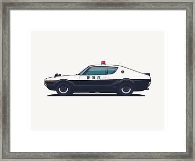 Nissan Skyline Gt-r C110 Japan Police Car Framed Print by Ivan Krpan