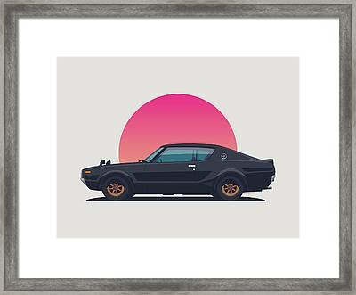 Nissan Skyline Gt-r C110 Side - Sunset Black Landscape Framed Print by Ivan Krpan