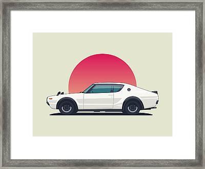 Nissan Skyline Gt-r C110 Side - Sunset White Landscape Framed Print by Ivan Krpan