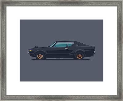 Nissan Skyline Gt-r C110 Side - Plain Black Framed Print by Ivan Krpan