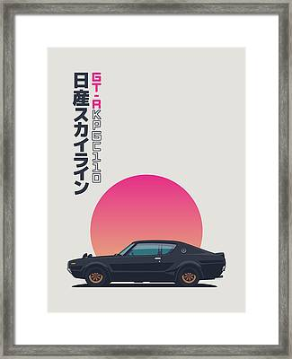 Nissan Skyline Gt-r C110 Side - Portrait Black Framed Print by Ivan Krpan