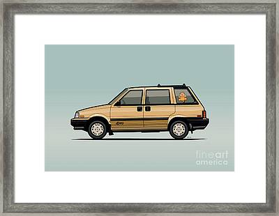Nissan Stanza / Prairie 4wd Wagon Gold Framed Print by Monkey Crisis On Mars