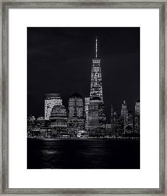 Nitetime Skyline-bw Framed Print