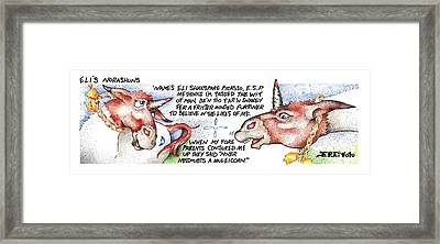 Framed Print featuring the painting Niver Misdoubts Fpi Cartoon by Dawn Sperry