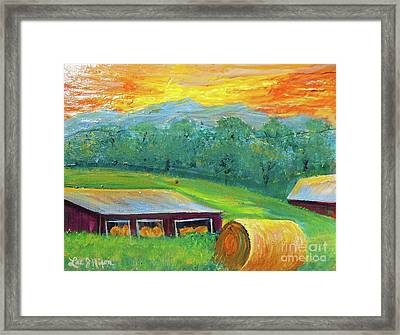 Framed Print featuring the painting Nixon' Colorful Farm View by Lee Nixon