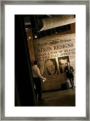 Framed Print featuring the photograph Nixon Resigns by Kate Purdy