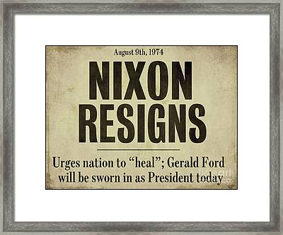 Nixon Resigns Newspaper Headline Framed Print by Mindy Sommers