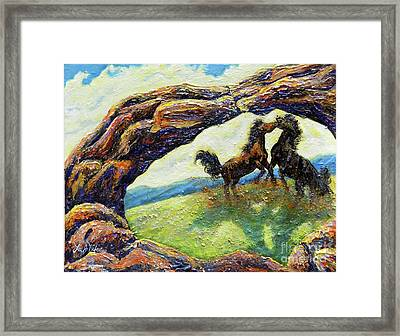 Framed Print featuring the painting Nixon's Horsing Around by Lee Nixon
