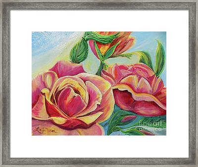 Framed Print featuring the painting Nixon's Lovely Roses by Lee Nixon