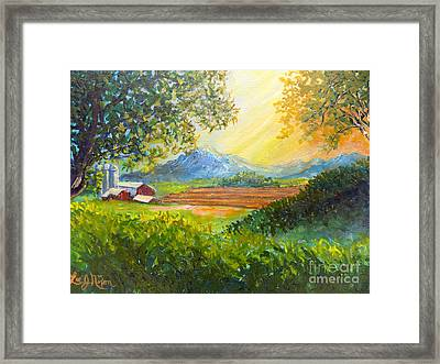 Framed Print featuring the painting Nixon's Majestic Farm View by Lee Nixon