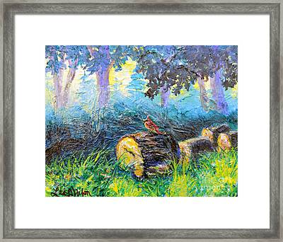 Framed Print featuring the painting Nixon's  Red Bird In The Forest by Lee Nixon