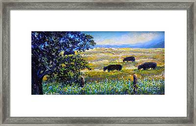 Framed Print featuring the painting Nixon's Three Plus One Out To Pasture by Lee Nixon