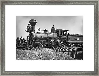No. 120 Early Railroad Locomotive Framed Print by Daniel Hagerman