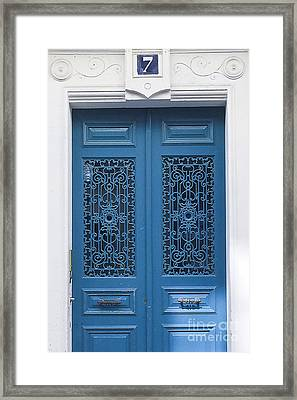 No 7 Paris Blue Door Framed Print by Ivy Ho