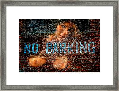 Framed Print featuring the photograph No Barking by Harry Spitz