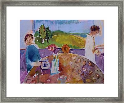 Framed Print featuring the painting No Conversation by Diane Ursin