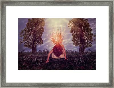 Framed Print featuring the digital art No Earthly Roots by Nicole Wilde
