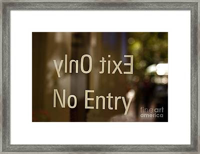 No Entry   A World Of Words Series Framed Print by Mark Hendrickson