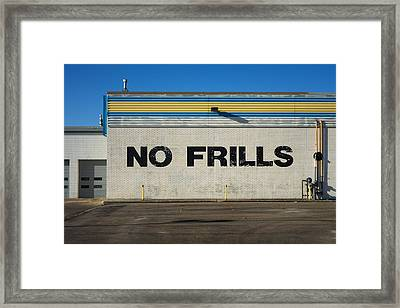 No Frlls Framed Print by Bryan Scott