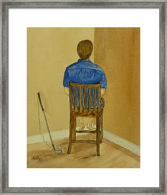 Framed Print featuring the painting No Golf For You Today by Kelly Mills