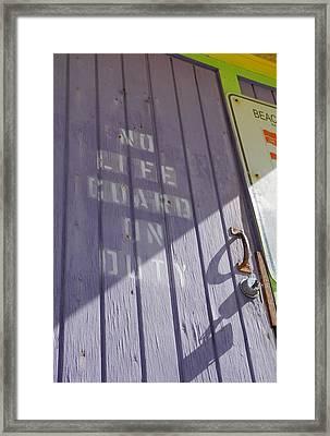 No Lifeguard On Duty - South Beach Framed Print