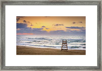 Framed Print featuring the photograph No Lifeguard On Duty. by Gary Gillette