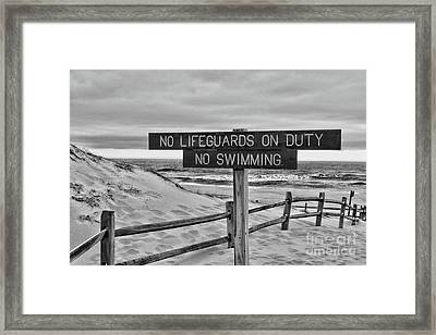Framed Print featuring the photograph No Lifeguards On Duty Black And White by Paul Ward
