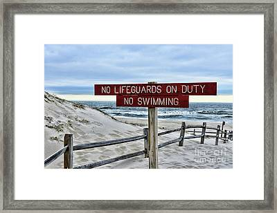 Framed Print featuring the photograph No Lifeguards On Duty by Paul Ward