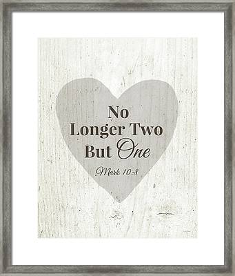 No Longer Two- Art By Linda Woods Framed Print by Linda Woods